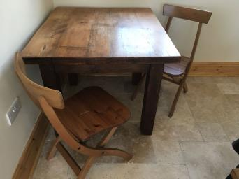 Square Oak Dining Table And 2 Folding Chairs