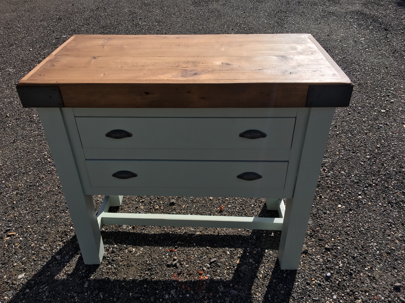 Pine Painted Two Drawer Butchers Block