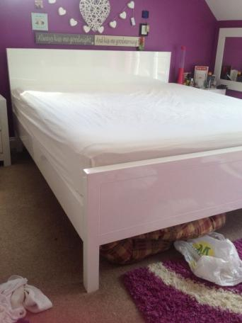 super king size so very large white high gloss solid wood framed bed strong slats under mattres very well made does unbolt for transportation hand - High King Size Bed Frame