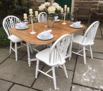 Oak Vintage Drop Leaf Dining Table With Beautiful Wood Grain Top And 4 Wheelback Chairs Versatile Space Saving Set