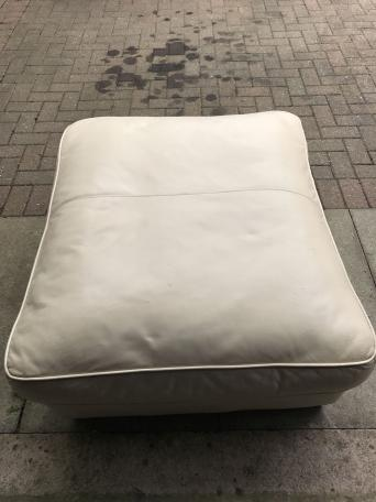 Large Cream leather pouffe could do with a bit of a clean up or refurb  Perfect. Free To A Good Home Furniture   Kisekae Rakuen com