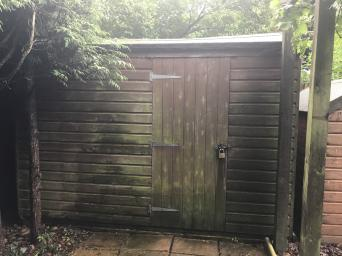 a large garden shed with padlock cupboard and shelves available for collection as soon as possible will need to be dismantled and taken away by friday - Garden Sheds Huddersfield