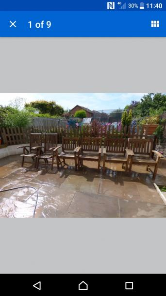 patio chairs for sale 2 x recline type fully working and 4 x static position type they do need some tlc possible sand down and a definite re oil