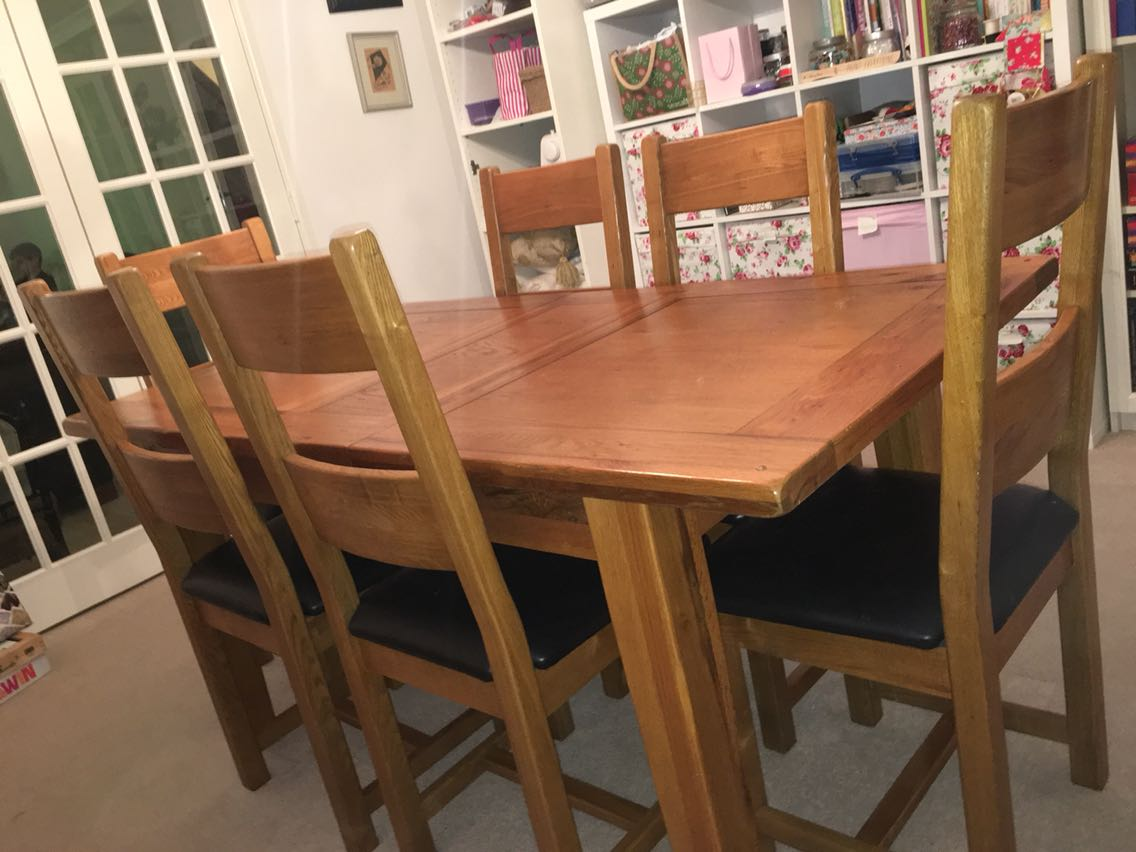 Solid Oak Dining Table 6 Chairs For Sale In UK