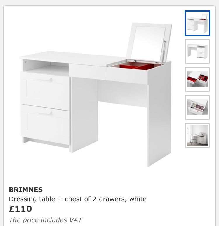 Ikea white dressing table for sale in uk view 63 ads for White dressing table for sale