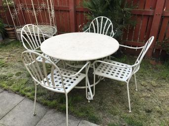 gorgeous marble topped patio set