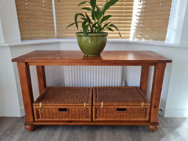 Image 1 of INDONESIAN CONSOLE TABLE WITH BASKET STORAGE