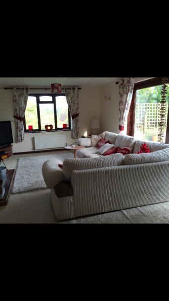 Cream Cord Corner Sofa