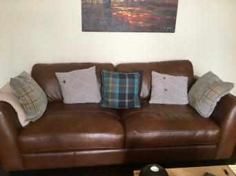 Two 3 Seater Dark Italian Leather Sofas With Cushions