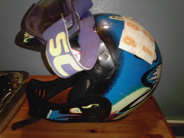 Preview of the first image of boys crosser helmet & Gogels size 52 small approx age 7 upwa.