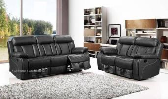 Enjoyable 2 3 Seater Leather Reclining Sofa Black Second Hand Machost Co Dining Chair Design Ideas Machostcouk