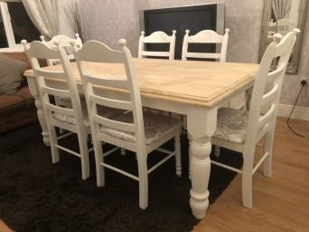 6ft Shabby Chic Oak Table And 6 Chairs