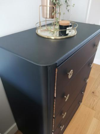 Image 3 of Vintage 1960s Handpainted 5 drawer chest