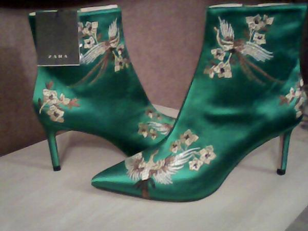 Image 1 of beautiful emerald satin boots