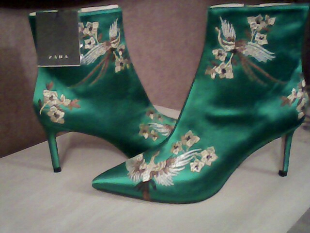 Preview of the first image of beautiful emerald satin boots.