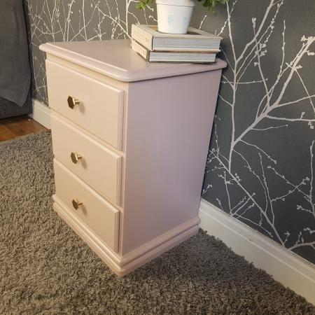 Image 2 of Dusky pink solid wood bedside table *Free local delivery*