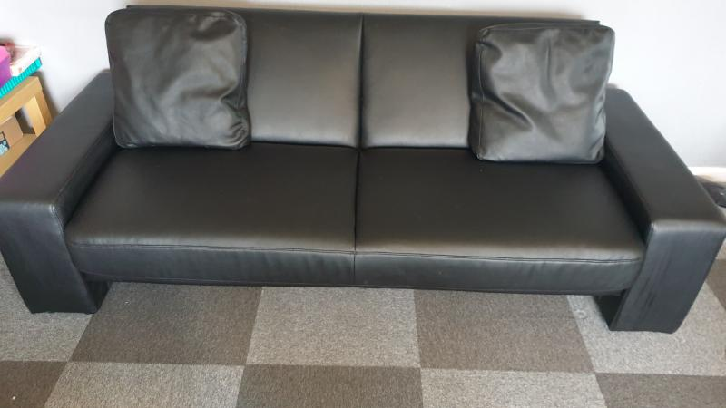 Image 1 of leather sofa bed for sale