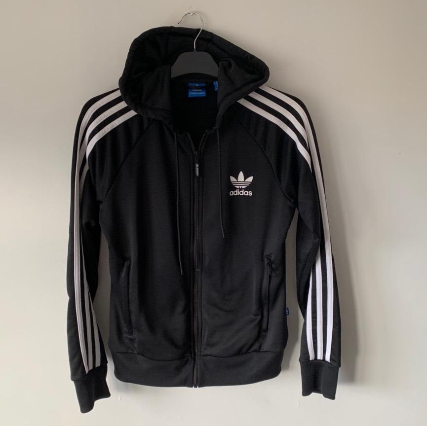 REVERSIBLE Adidas Jacke Vintage umkehrbare Kapuze 3 Streifen Pullover gesteppten Mantel schwarzen Medium
