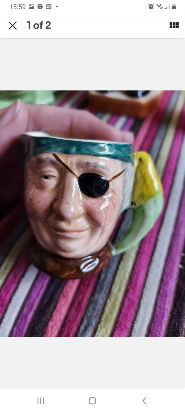 Preview of the first image of Character Wear Toby Jug Parrot Pirate.