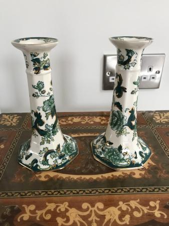 Image 2 of Mason chartreuse candle stick holders