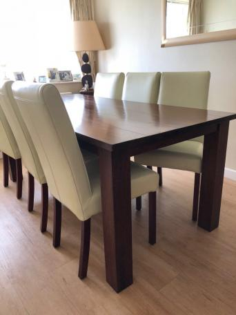 Beautiful Hardwood Dining Table And Leather Chairs