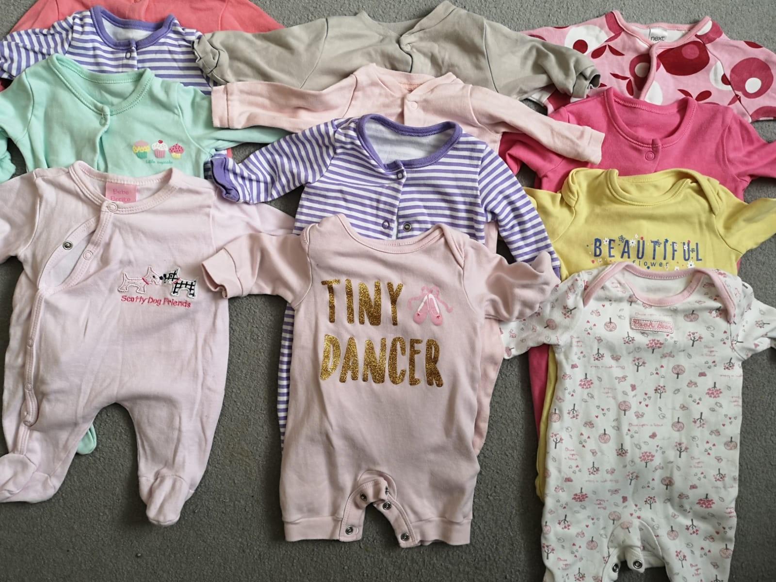 Baby Girls Newborn Sleepsuits X 3 Vgc Be Novel In Design Baby & Toddler Clothing