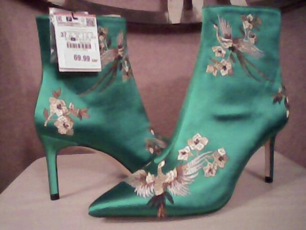 Image 3 of beautiful emerald satin boots