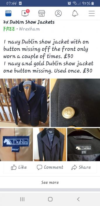 navy show jacket - Second Hand Horse Tack and Clothing, Buy