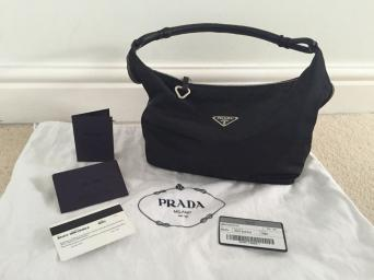Guaranteed Authentic Prada Cloth And Leather Hobo Bag