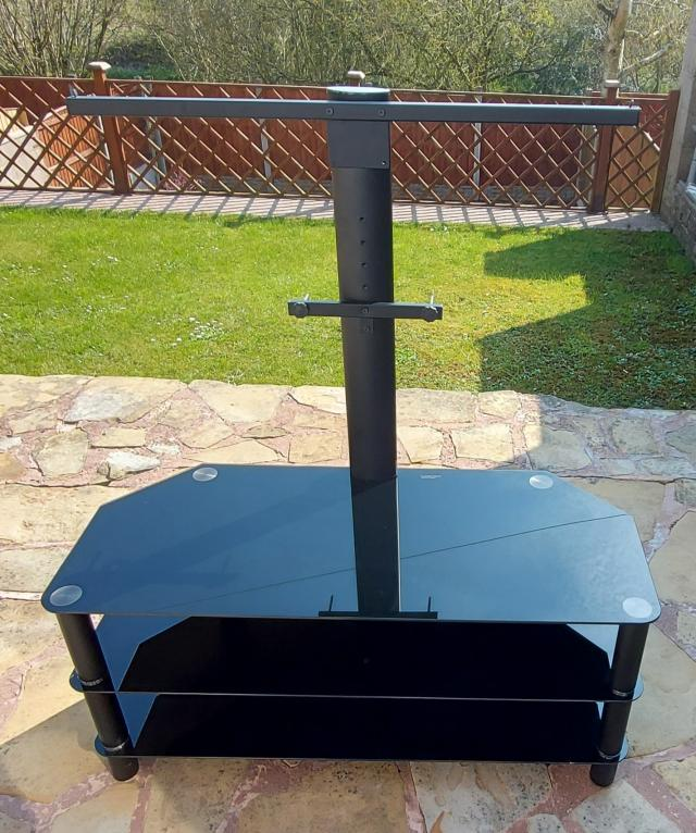 Preview of the first image of 50 inch black TV stand with mounting bracket.