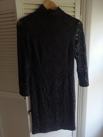 Image 1 of black embroidered dress
