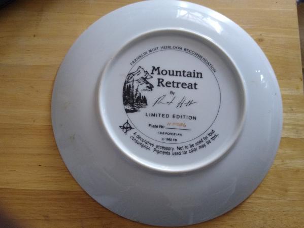 "Image 3 of Franklin Mint Heirloom ""Mountain Retreat"" Plate"