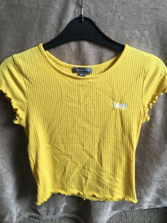 "Image 1 of Bright yellow ""happy""  t-shirt"