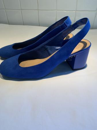 Image 1 of New M&S size 6 cobalt blue sling backs