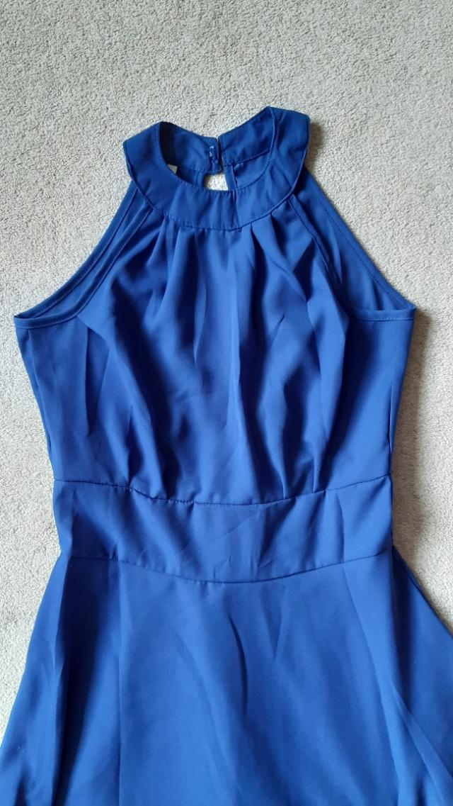 Preview of the first image of Royal Blue Halter Neck Summer Dress.
