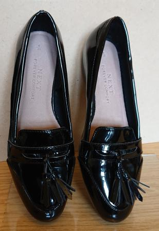 Image 2 of NEW Next Black Patent Loafers (UK size 6)