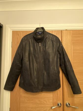 Image 1 of Mans navy sued leather jacket