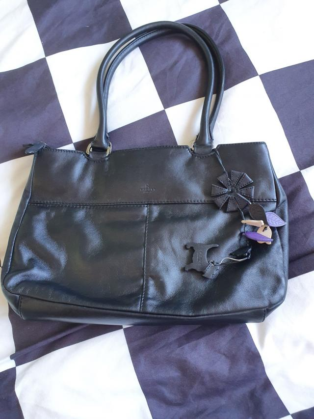 Preview of the first image of Black leather Radley bag.
