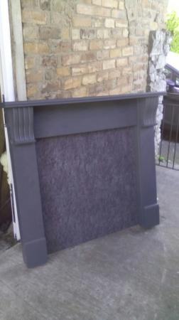 Image 3 of Wooden Mantlepiece Fire Surround With Matching Back Panel