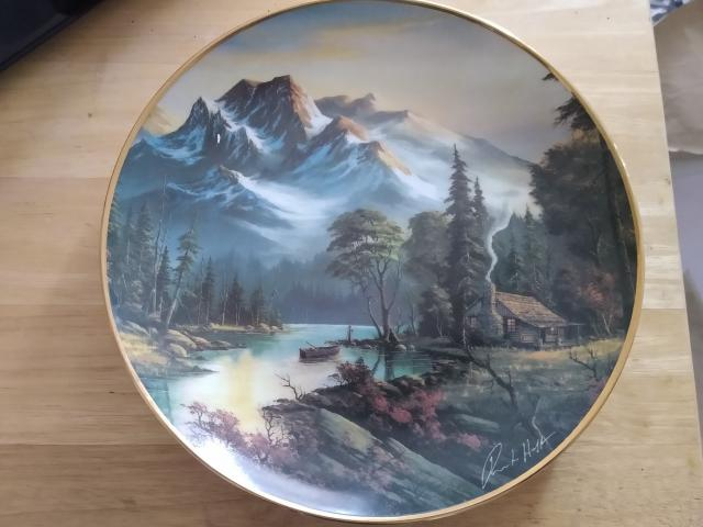 """Preview of the first image of Franklin Mint Heirloom """"Mountain Retreat"""" Plate."""