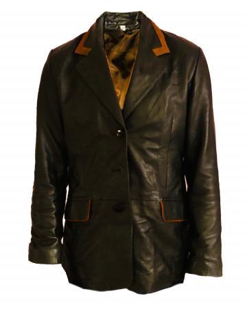 Image 2 of Classic Tailored Leather Blazer Jacket