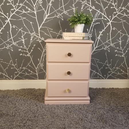 Image 1 of Dusky pink solid wood bedside table *Free local delivery*