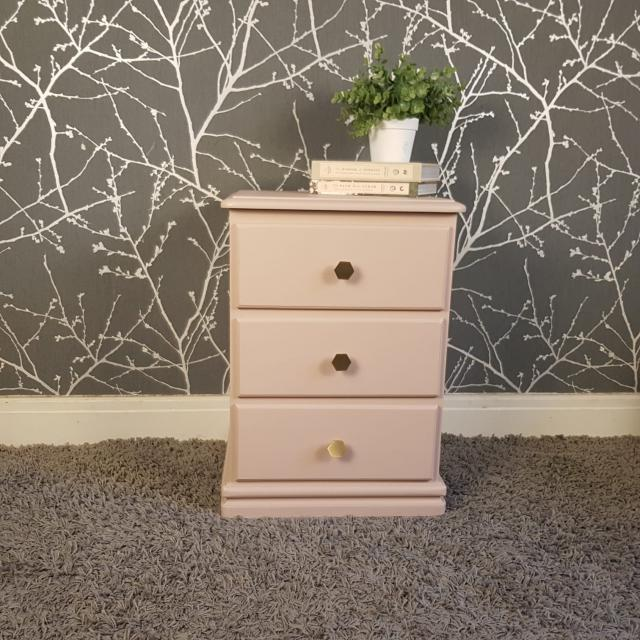 Preview of the first image of Dusky pink solid wood bedside table *Free local delivery*.