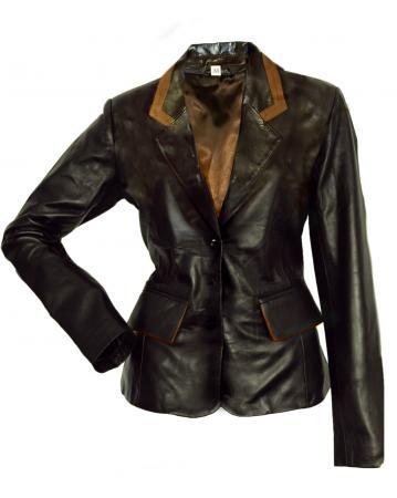 Image 1 of Classic Tailored Leather Blazer Jacket