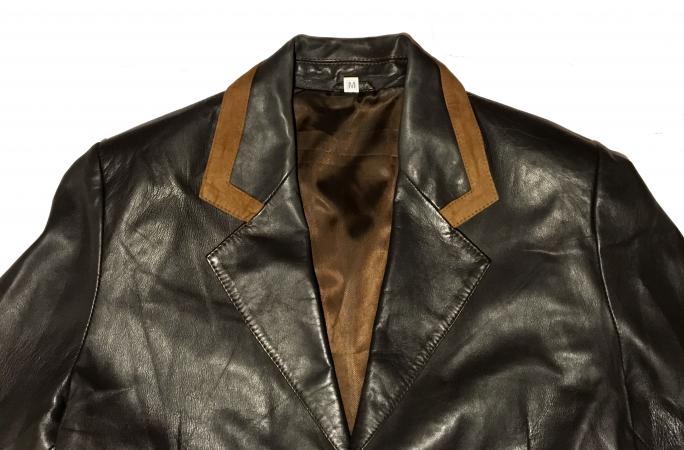Image 3 of Classic Tailored Leather Blazer Jacket