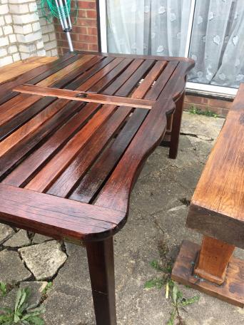 PJ Bridgeman Solid hardiwood garden table. free garden furniture   Second Hand Garden Furniture  Buy and Sell