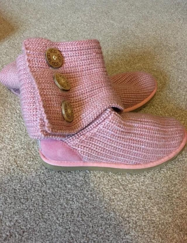 Pink Knitted Ugg Boots Size 4 For Sale In Bolton Lancashire