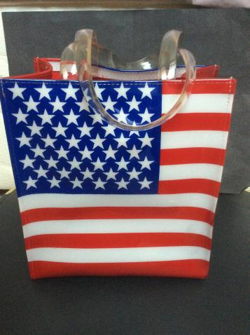 Preview of the first image of American flag plastic tote bag.