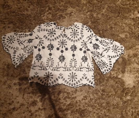 Image 1 of Zara embroidered blouse size S