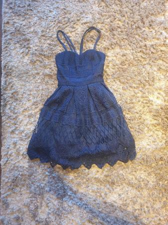 Image 2 of Chi Chi navy laced dress Petite 6